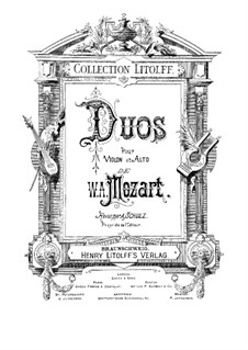 Two Duos for Violin and Viola, K.423, 424: Two Duos for Violin and Viola by Wolfgang Amadeus Mozart