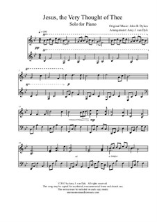 Jesus! The Very Thought of Thee: For piano by John Bacchus Dykes