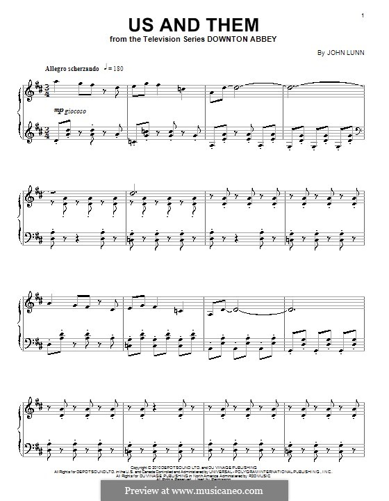 Us and Them: For piano by John Lunn