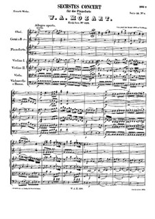 Concerto for Piano and Orchestra No.6 in B Flat Major, K.238: Movements I-II by Wolfgang Amadeus Mozart