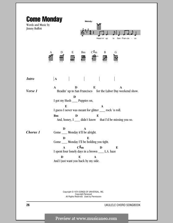 Come Monday: For ukulele by Jimmy Buffett