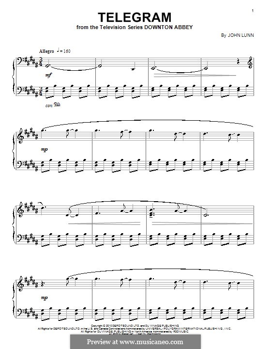 Telegram: For piano by John Lunn