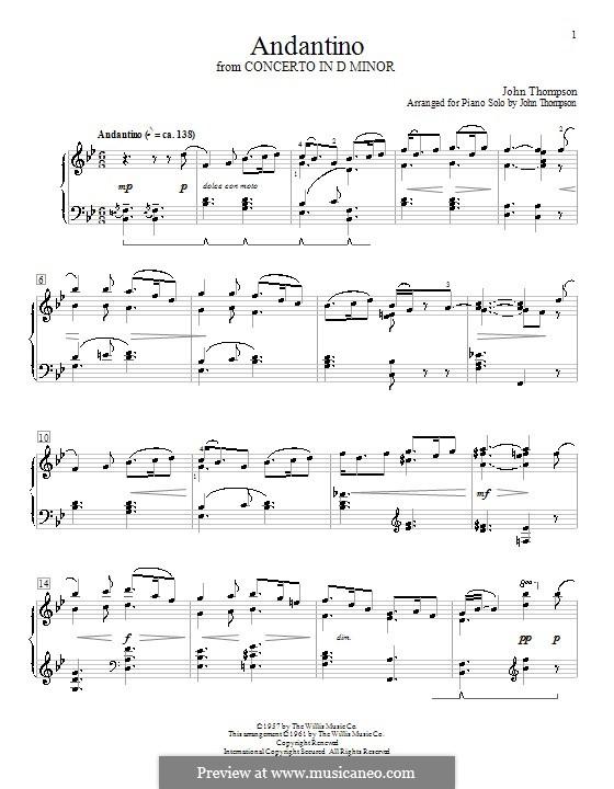 Andantino: For piano by John Thompson