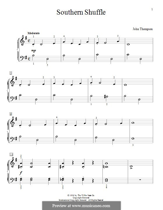 Southern Shuffle: For piano by John Thompson