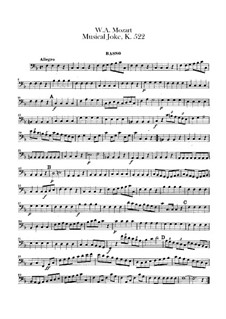 A Musical Joke, K.522: Double bass part by Wolfgang Amadeus Mozart