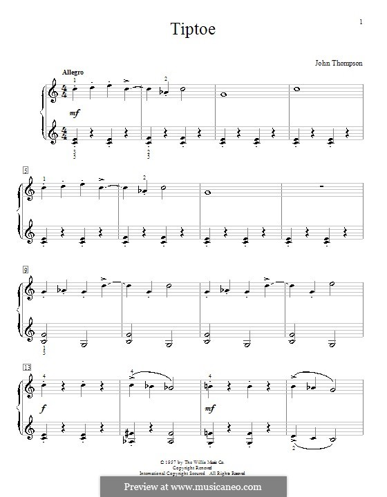Tiptoe: For piano by John Thompson