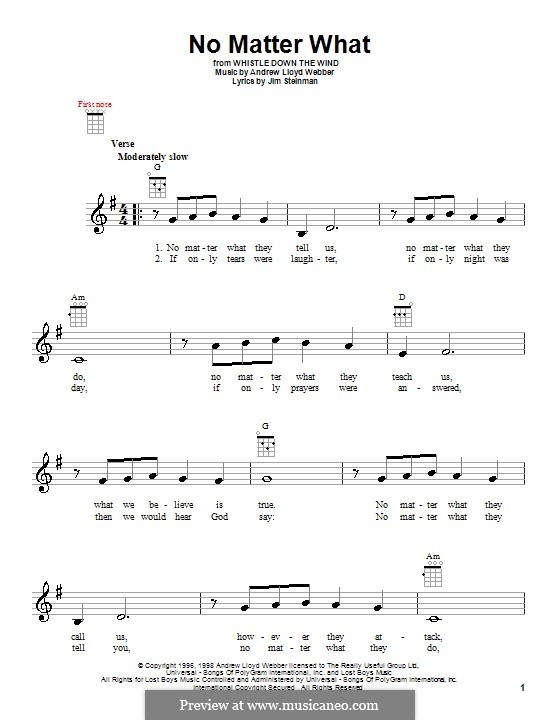 No Matter What (from Whistle Down the Wind): For ukulele by Andrew Lloyd Webber