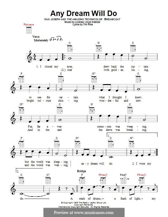 Any Dream Will Do: For ukulele by Andrew Lloyd Webber