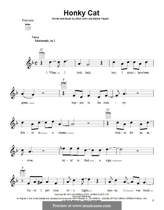 Honky Cat: For ukulele by Elton John