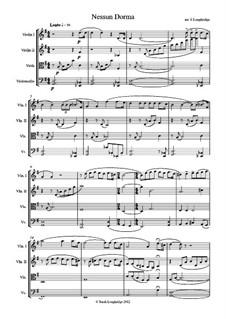 Turandot: Nessun dorma, for string quartet by Giacomo Puccini