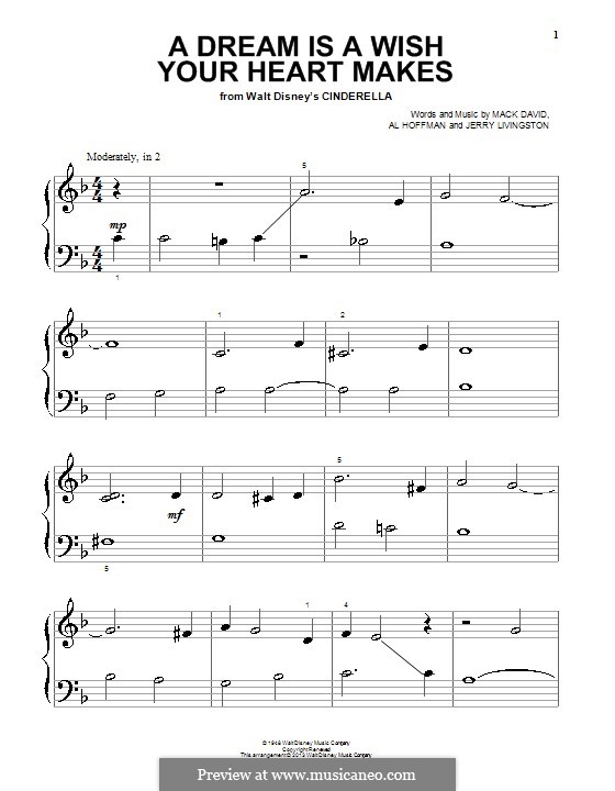 A Dream Is a Wish Your Heart Makes (from Disney's Cinderella): For easy piano by Al Hoffman, Jerry Livingston, Mack David