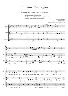 Christus resurgens ex mortuis: Vocal score by Orlande de Lassus