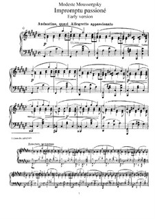 Impromptu Passioné: For piano (First edition) by Modest Mussorgsky