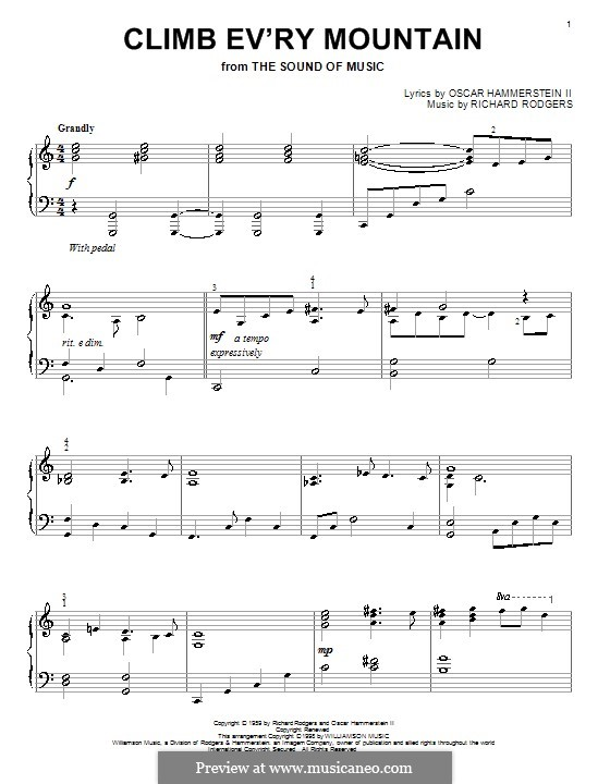 Climb Ev'ry Mountain: For piano by Richard Rodgers