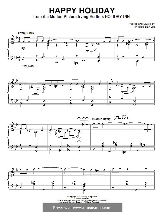 Happy Holiday: For piano by Irving Berlin