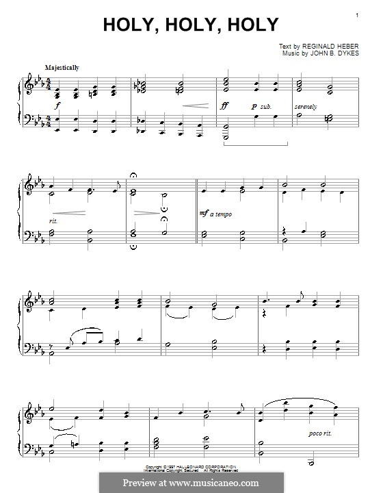 Holy, Holy, Holy! Lord God Almighty: For piano by John Bacchus Dykes