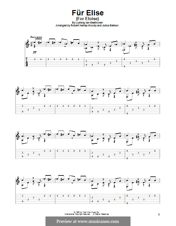 For Elise, WoO 59: For guitar with tab by Ludwig van Beethoven