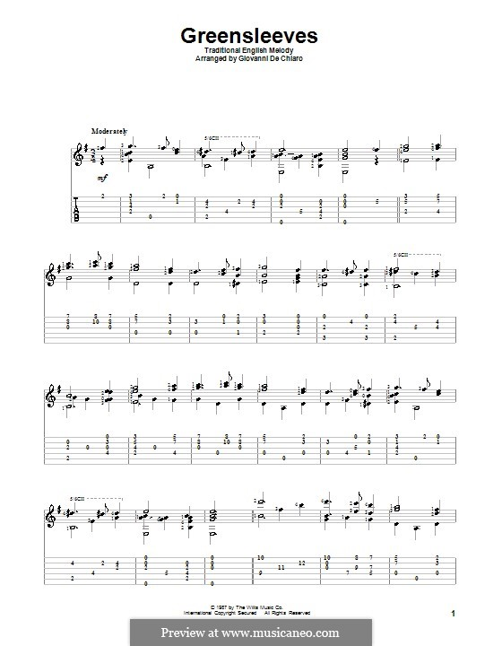 Greensleeves: For guitar with tab by folklore