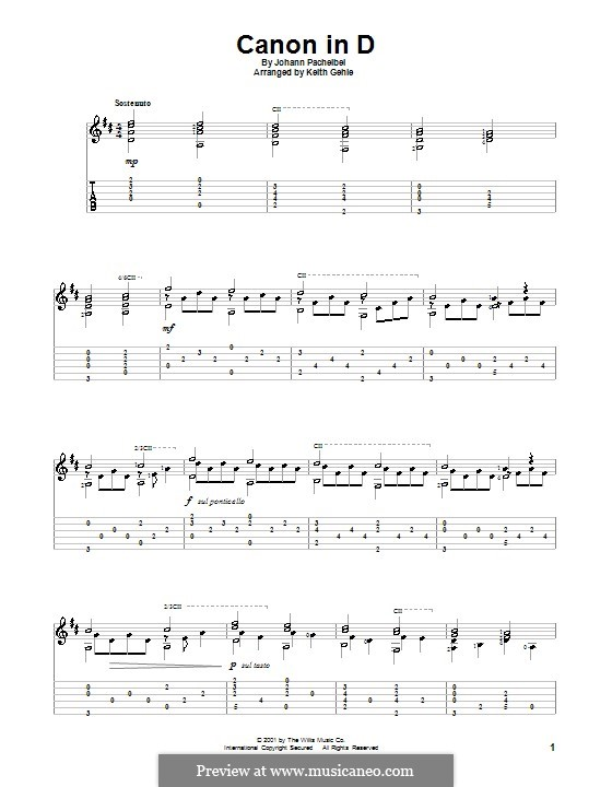 Canon in D Major (Printable): For guitar with tab by Johann Pachelbel