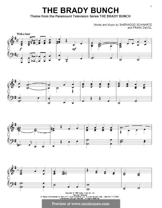 The Brady Bunch: For piano by Frank Devol