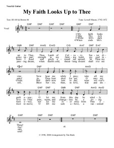 My Faith Looks Up to Thee: Lead sheet by Lowell Mason