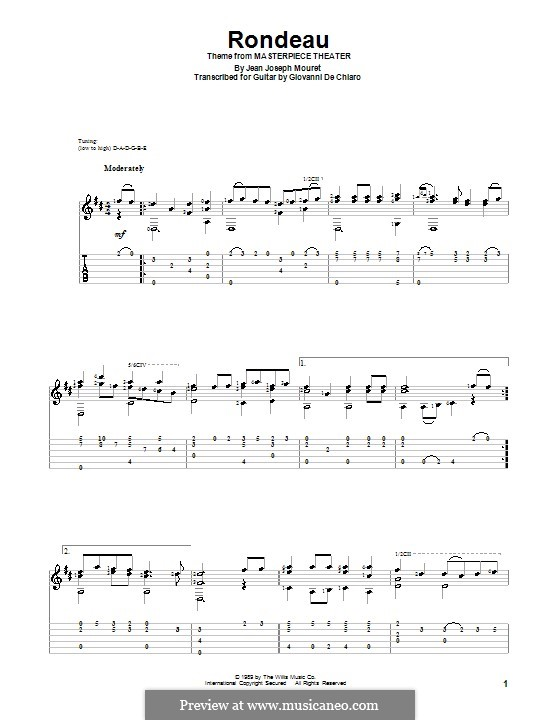 Rondo (Rondeau): For guitar with tab by Jean-Joseph Mouret