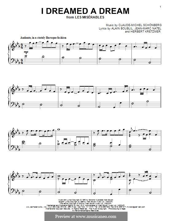 I Dreamed a Dream, for Piano: E flat Major by Claude-Michel Schönberg