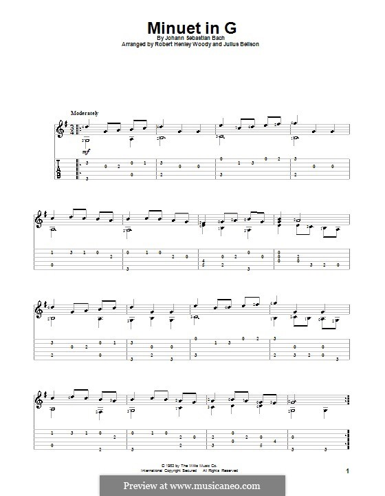 No.4 Minuet in G Major, BWV Anh.114: For guitar with tab by Johann Sebastian Bach