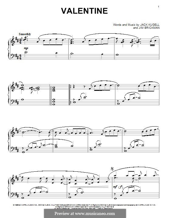 Valentine: For piano by Jack Kugell, Jim Brickman