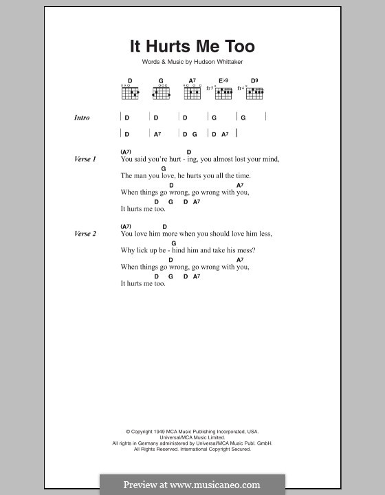 It Hurts Me Too (Eric Clapton): Lyrics and chords by Hudson Whittaker