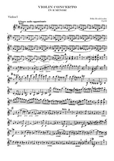 Concerto for Violin and Orchestra in E Minor, Op.64: Violin I part by Felix Mendelssohn-Bartholdy