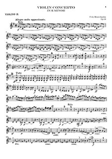 Concerto for Violin and Orchestra in E Minor, Op.64: Violin II part by Felix Mendelssohn-Bartholdy