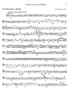 Concerto for Violin and Orchestra in E Minor, Op.64: Cellos and double bass part by Felix Mendelssohn-Bartholdy