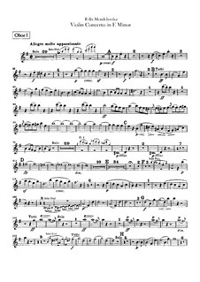 Concerto for Violin and Orchestra in E Minor, Op.64: Oboes parts by Felix Mendelssohn-Bartholdy