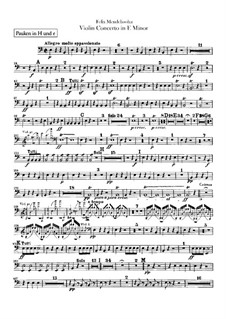 Concerto for Violin and Orchestra in E Minor, Op.64: Timpani part by Felix Mendelssohn-Bartholdy