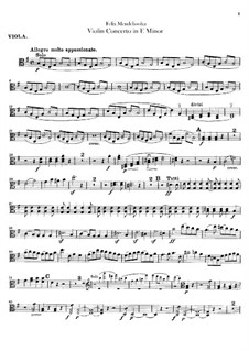Concerto for Violin and Orchestra in E Minor, Op.64: Viola part by Felix Mendelssohn-Bartholdy