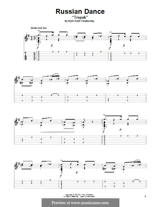 No.4 Russian Dance (Trepak): For guitar with tab by Pyotr Tchaikovsky