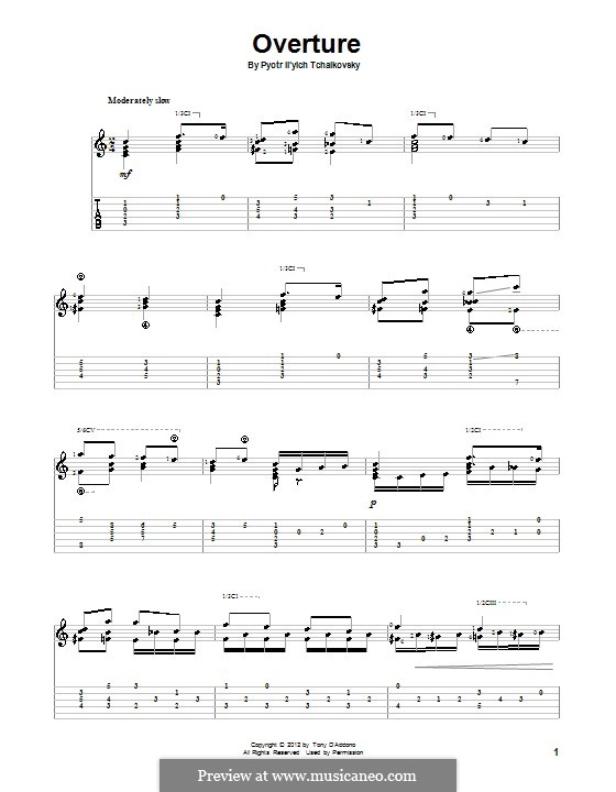 No.1 Miniature Overture : For guitar with tab by Pyotr Tchaikovsky