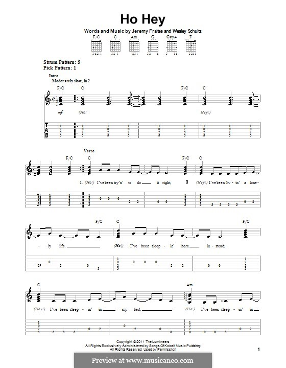 Ho Hey (The Lumineers): For guitar with tab by Jeremy Fraites, Wesley Schultz