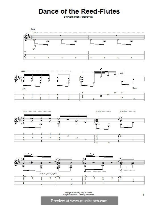 No.7 Dance of the Mirlitons: For guitar with tab by Pyotr Tchaikovsky