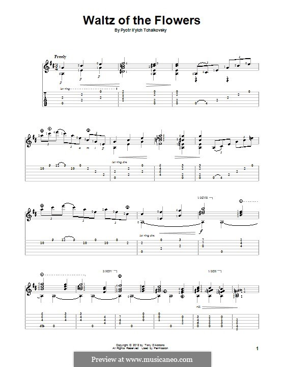 No.8 Waltz of the Flowers: For guitar with tab by Pyotr Tchaikovsky