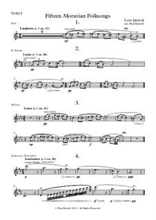 Fifteen Moravian Folksongs, JW 8/23: Arranged for string quartet – parts by Leoš Janáček