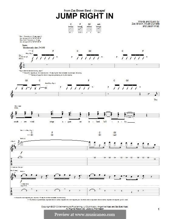Jump Right in (Zac Brown Band): For guitar with tab by Jason Mraz, Wyatt Durrette, Zac Brown
