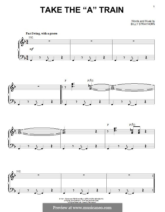 Take the 'A' Train (Duke Ellington): For voice and piano by Billy Strayhorn