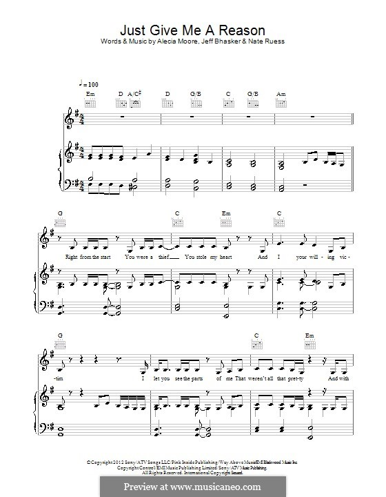 Just Give Me a Reason (Pink) by A. Moore, J. Bhasker, N. Ruess on ...