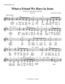 What a Friend We Have in Jesus: Guitar lead sheet in D by Charles Crozat Converse