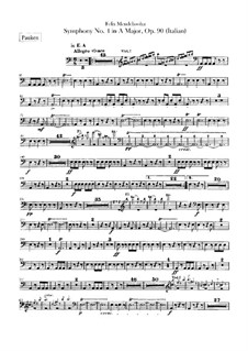 Symphony No.4 in A Major 'Italian', Op.90: Timpani part by Felix Mendelssohn-Bartholdy