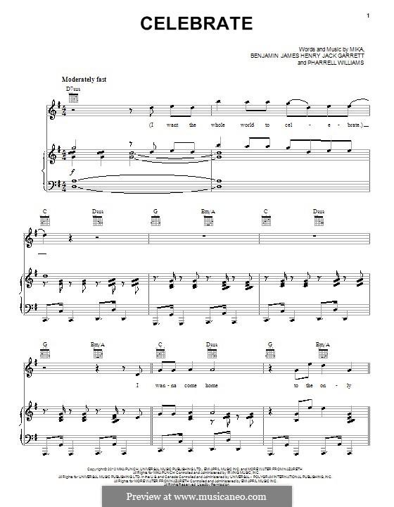 Celebrate: For voice and piano (or guitar) by Mika, Pharrell Williams, Benjamin Garrett