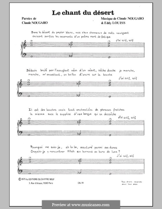 Chant du Desert: For voice and piano by Claude Nougaro, Eddy Louiss