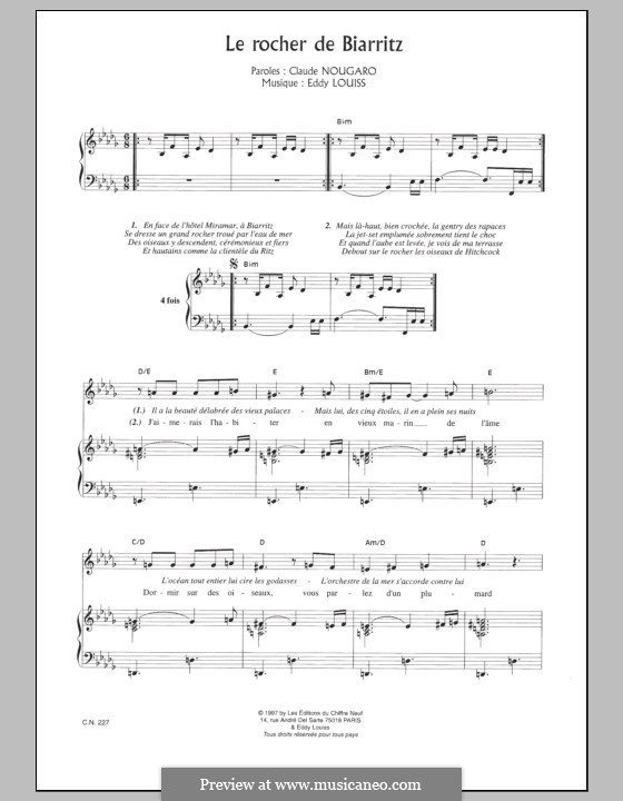 Rocher de Biarritz: For voice and piano by Eddy Louiss
